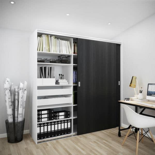 Garderobe skydelåger sort struktur