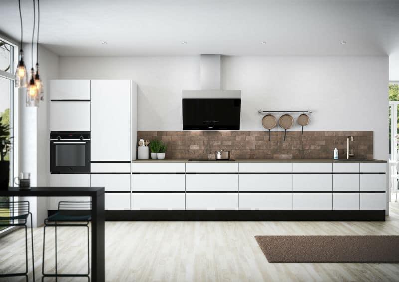 Køkken Riva Hvid sorte gribelister
