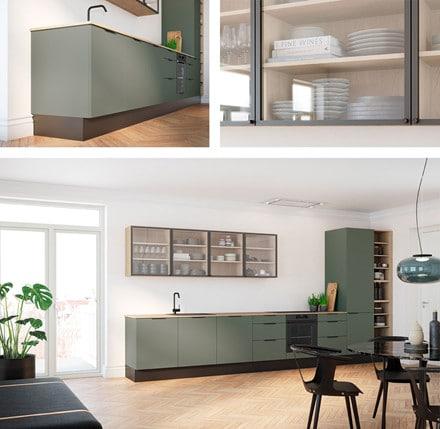 Køkken Capri Grøn r - bæredygtig og miljøvenligt